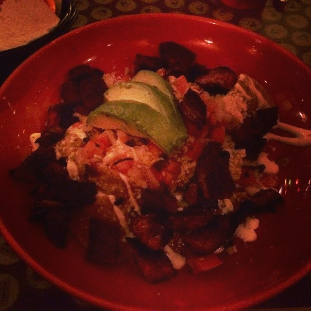 Steak chilaquiles. Coconut margarita implied but not pictured.