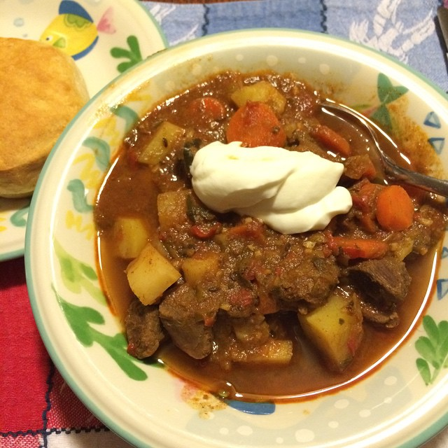 My nice mom made Hungarian goulash for dinner. #eatrealfood